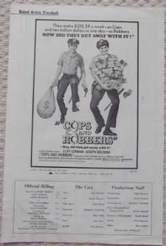Cops and Robbers, Original Pressbook, Cliff Gorman, Joseph Bologna, '73